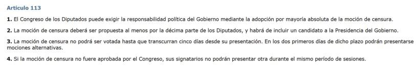 Artículo 113 de la Constitución española de 1978